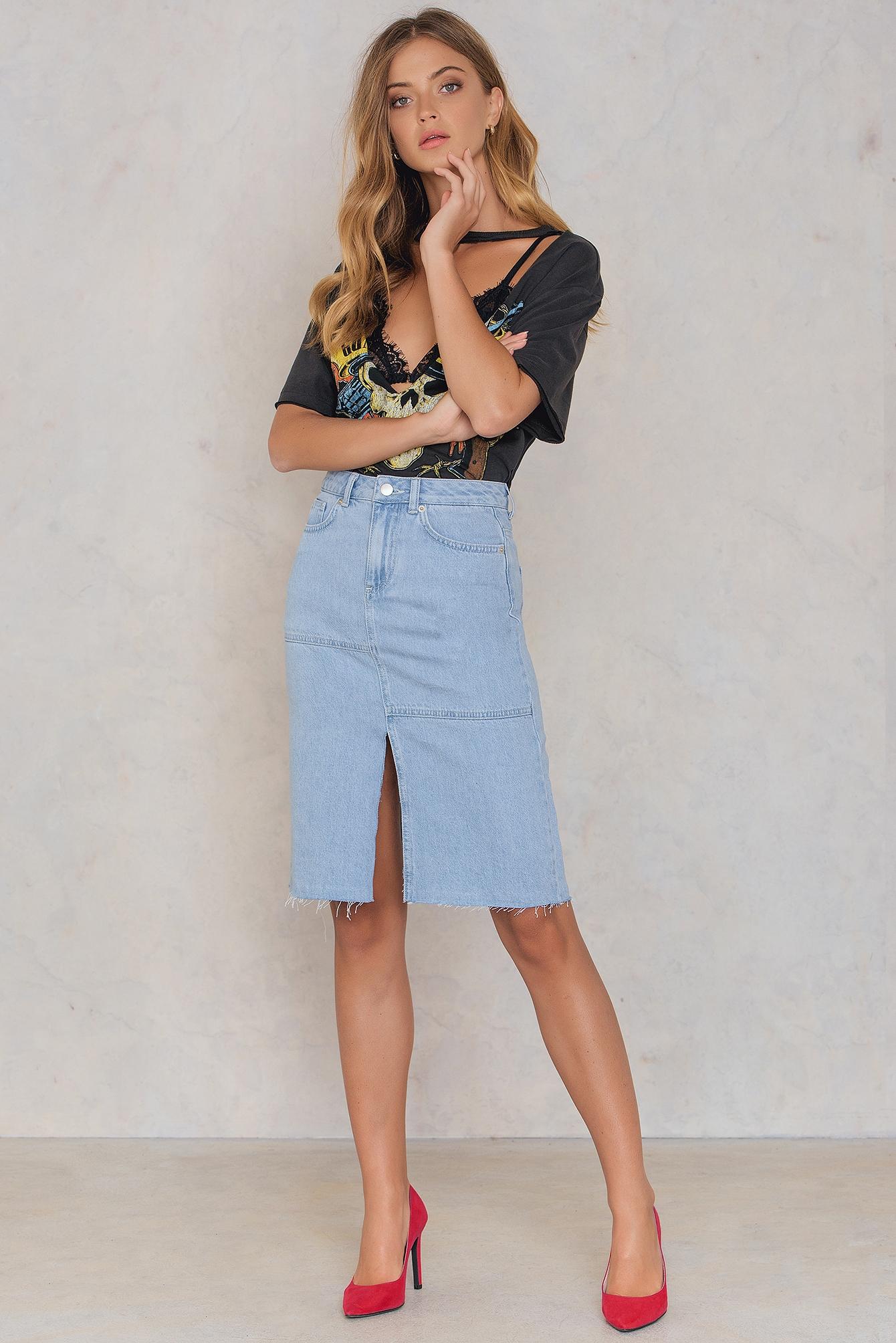 NA-KD Boho Front Back Slit Denim Skirt Blue