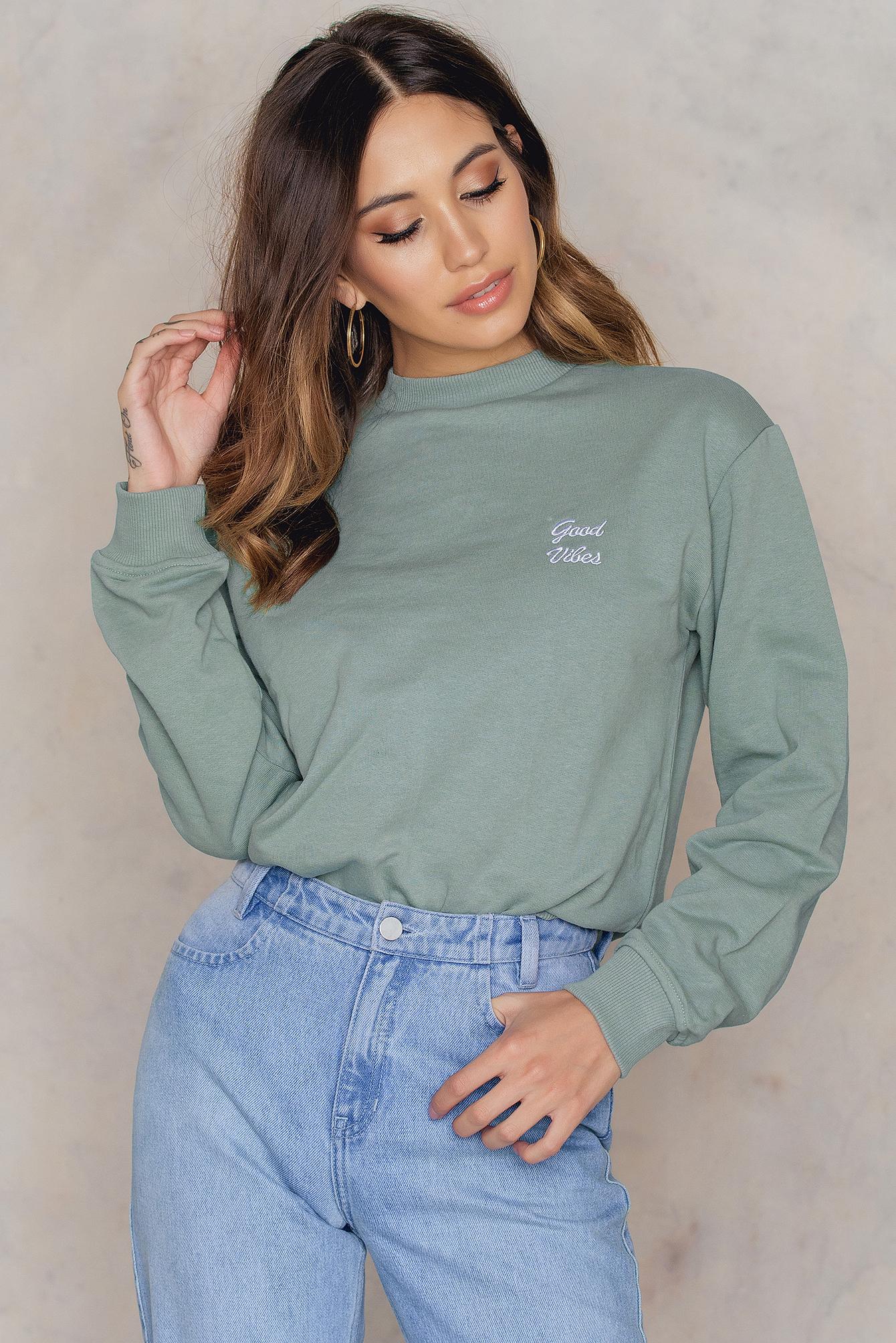 NA-KD Trend Good Vibes Sweatshirt Green