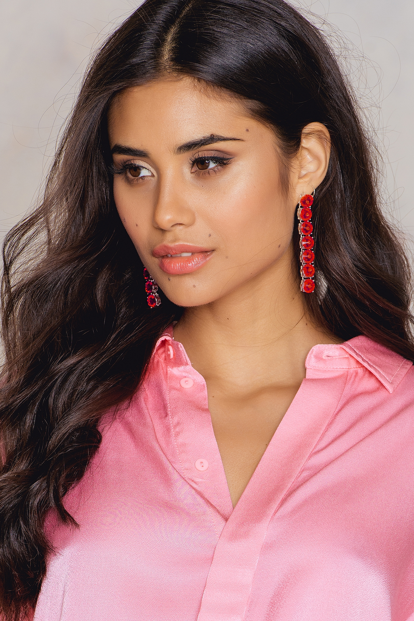 NA-KD Accessories Hanging Row Stone Earrings Red