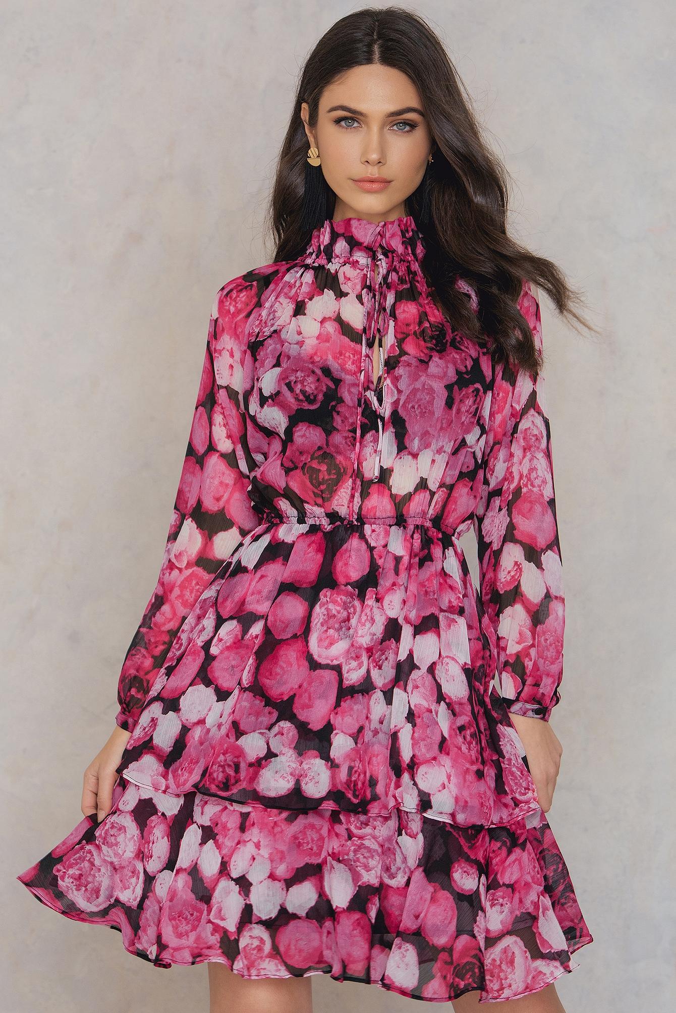 NA-KD Boho High Frill Neck Dress Pink, Multicolor by NA-KD Boho
