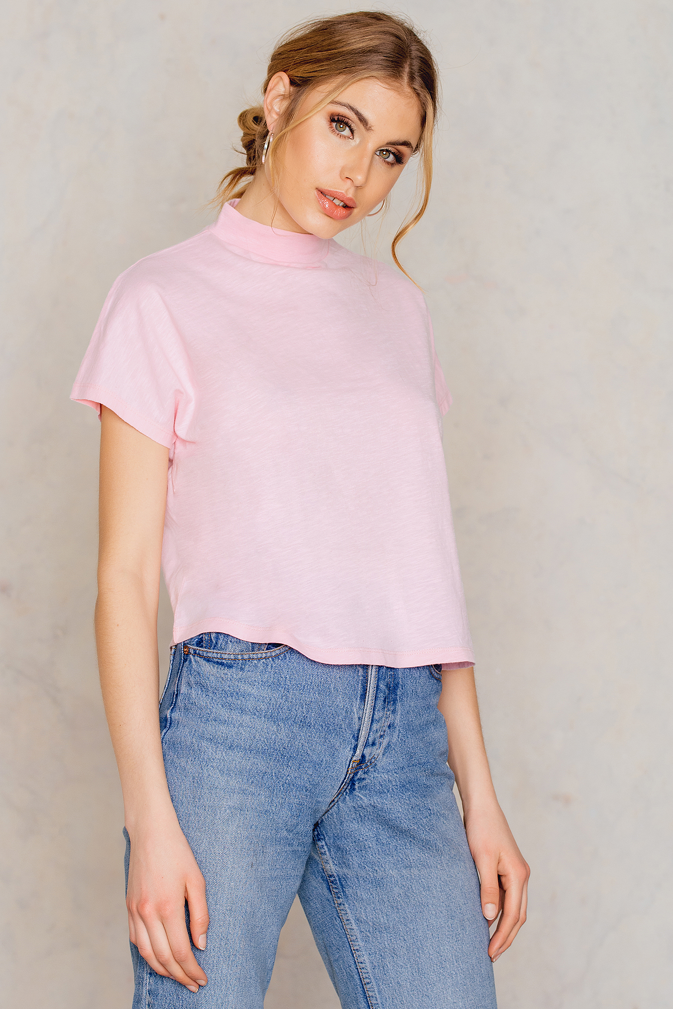 NA-KD Trend High Neck Cap Sleeve Top Pink
