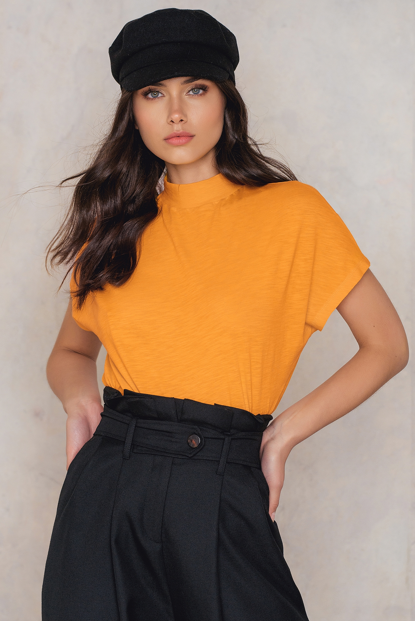 NA-KD Trend High Neck Cap Sleeve Top Yellow, Orange