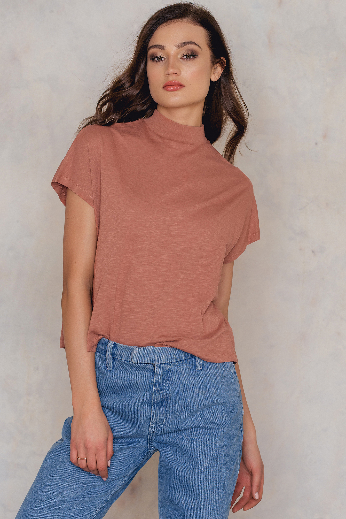 NA-KD Trend High Neck Cap Sleeve Top Copper, Orange