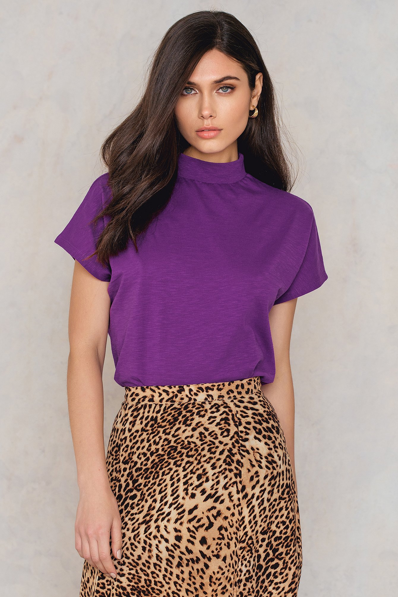 NA-KD Trend High Neck Cap Sleeve Top Purple