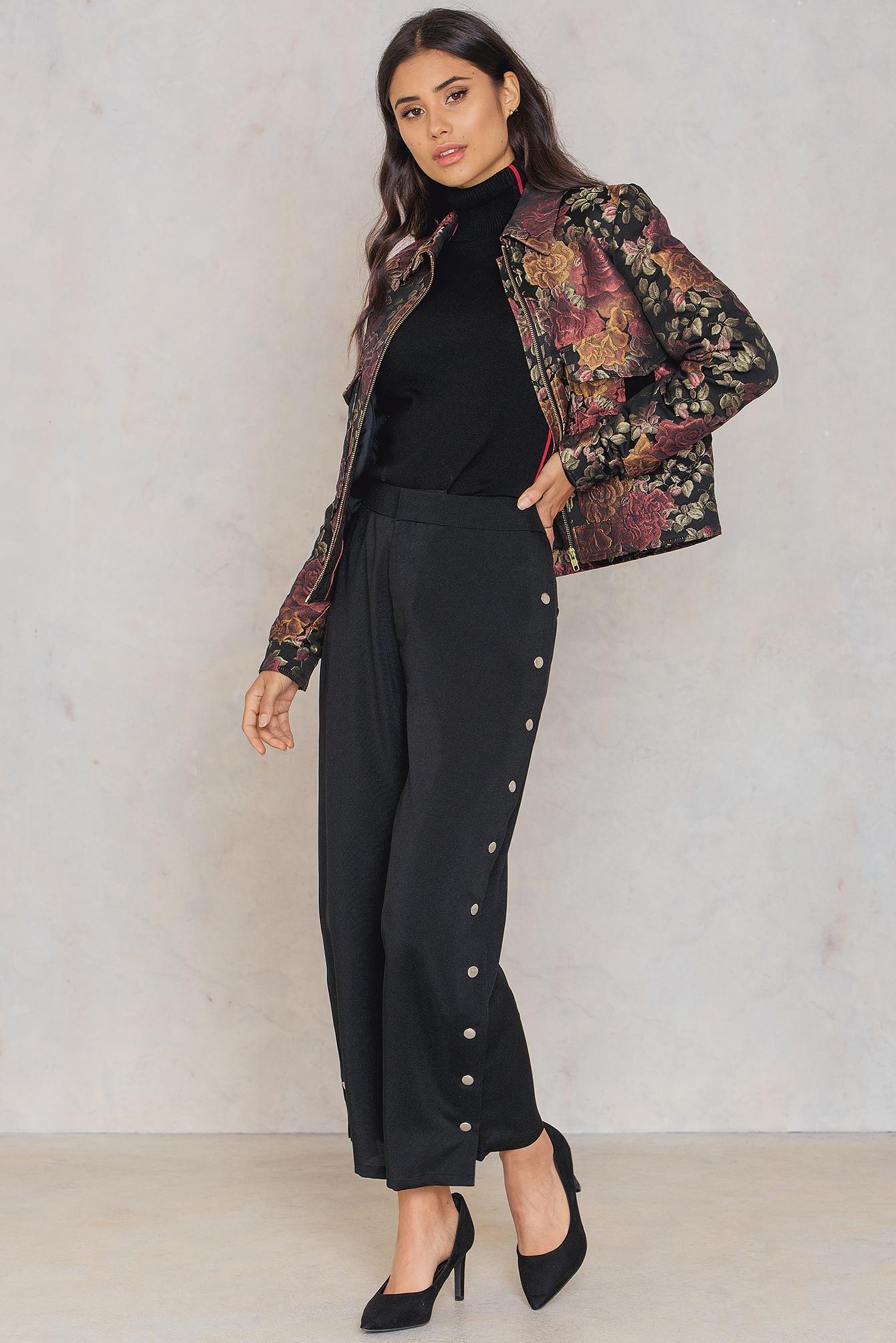 NA-KD Trend Highwaist Popper Pants Black