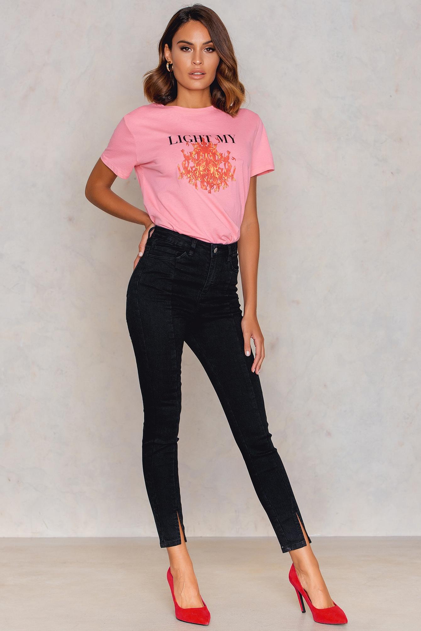 NA-KD Highwaist Skinny Front Slit Jeans Black