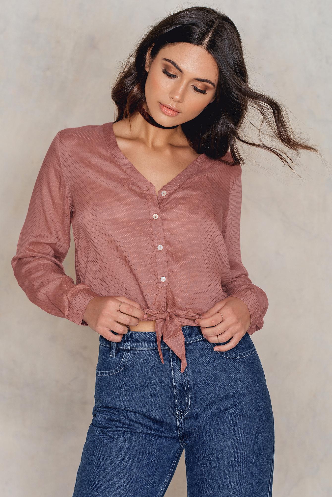 NA-KD Boho Knot Detail Shirt Pink
