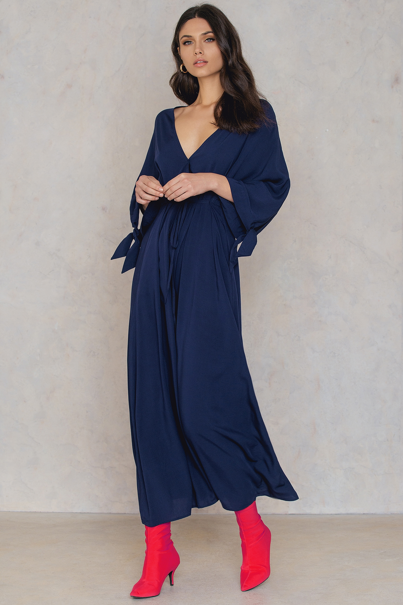 NA-KD Trend Long Sleeve Coat Dress Blue by NA-KD Trend
