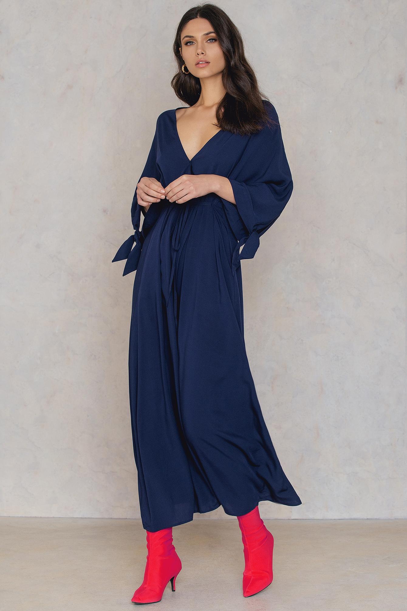 NA-KD Trend Long Sleeve Coat Dress Blue
