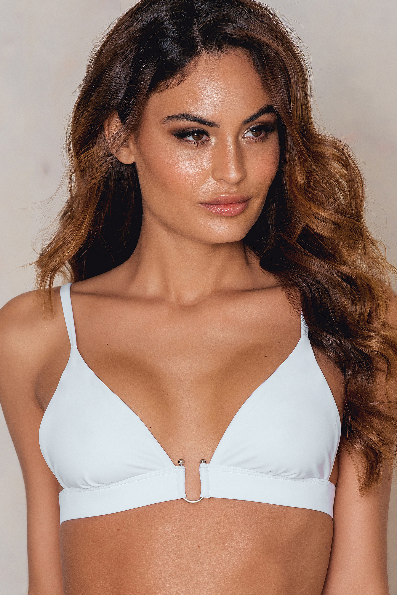NA-KD Swimwear Metal Loop Bikini Bra White