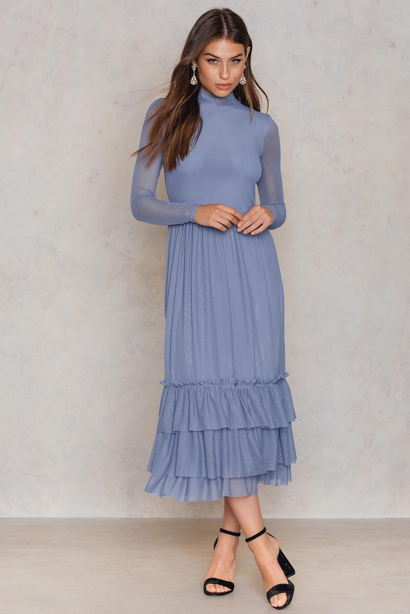 NA-KD Trend Mesh Frill Dress Blue