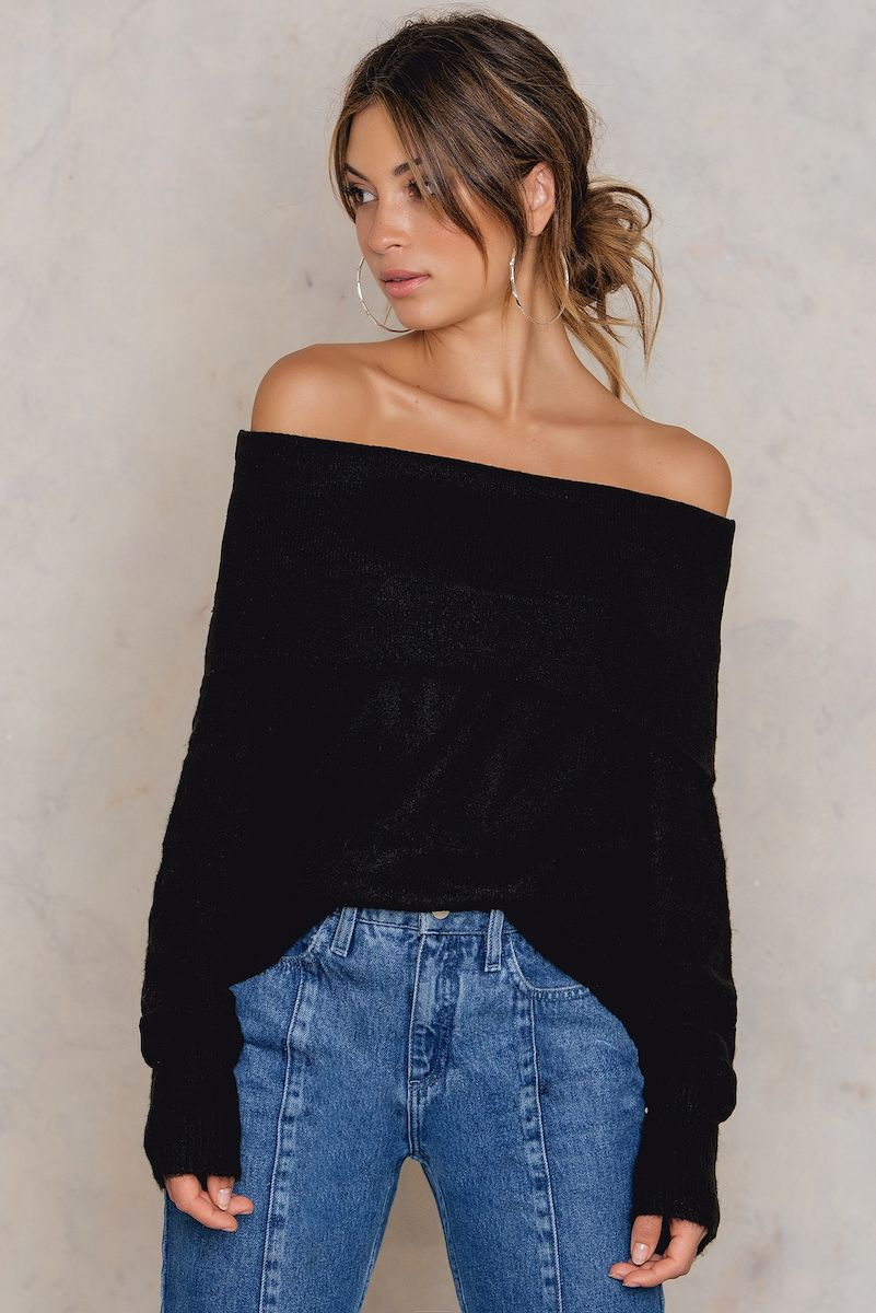 NA-KD Trend Offshoulder Folded Wide Sweater Black