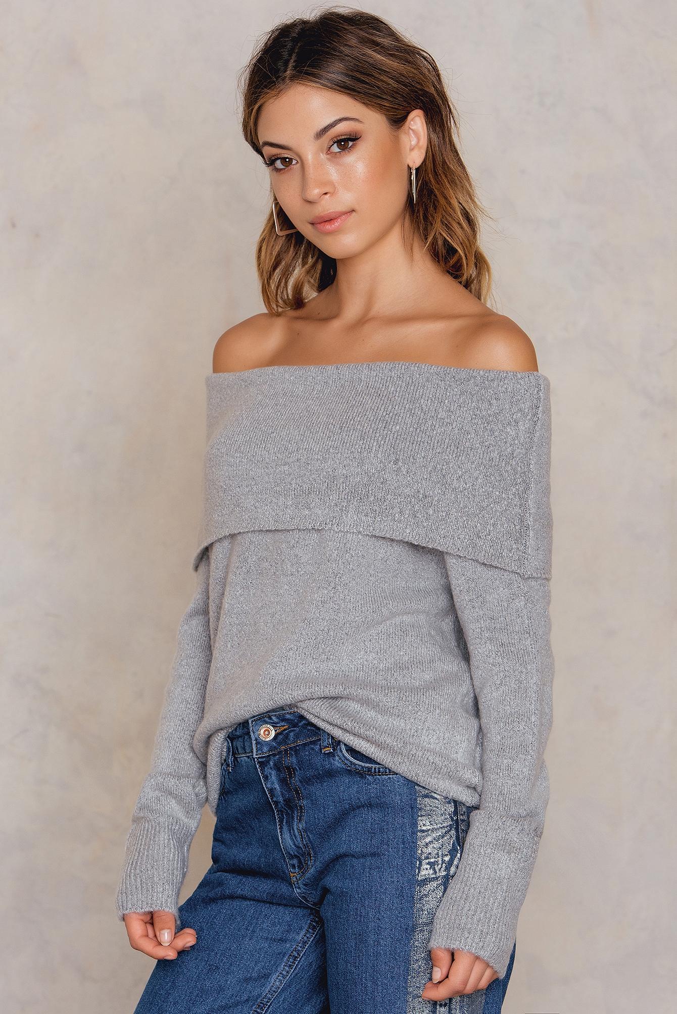 NA-KD Trend Offshoulder Folded Wide Sweater Grey