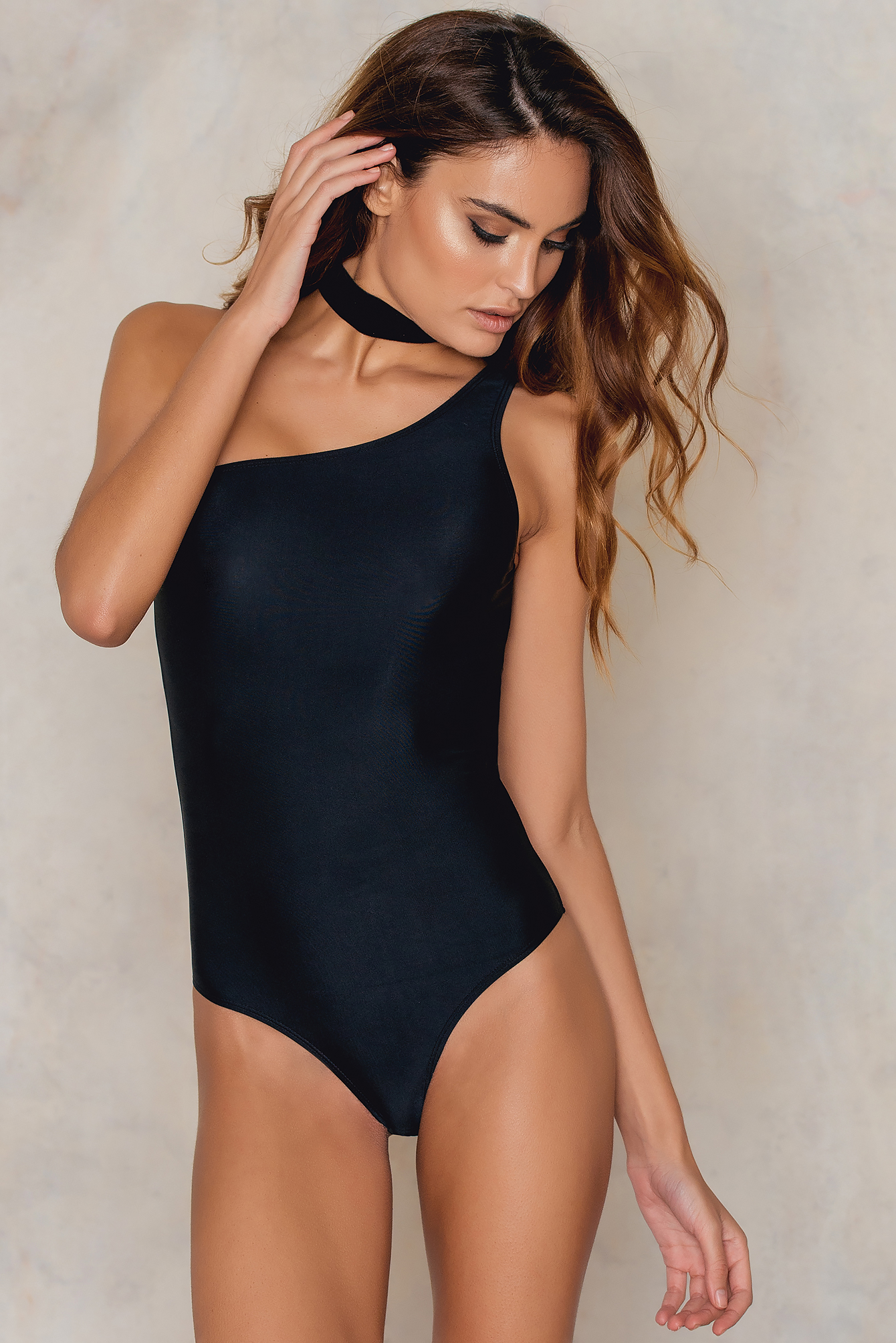 NA-KD Swimwear One Shoulder Swimsuit Black