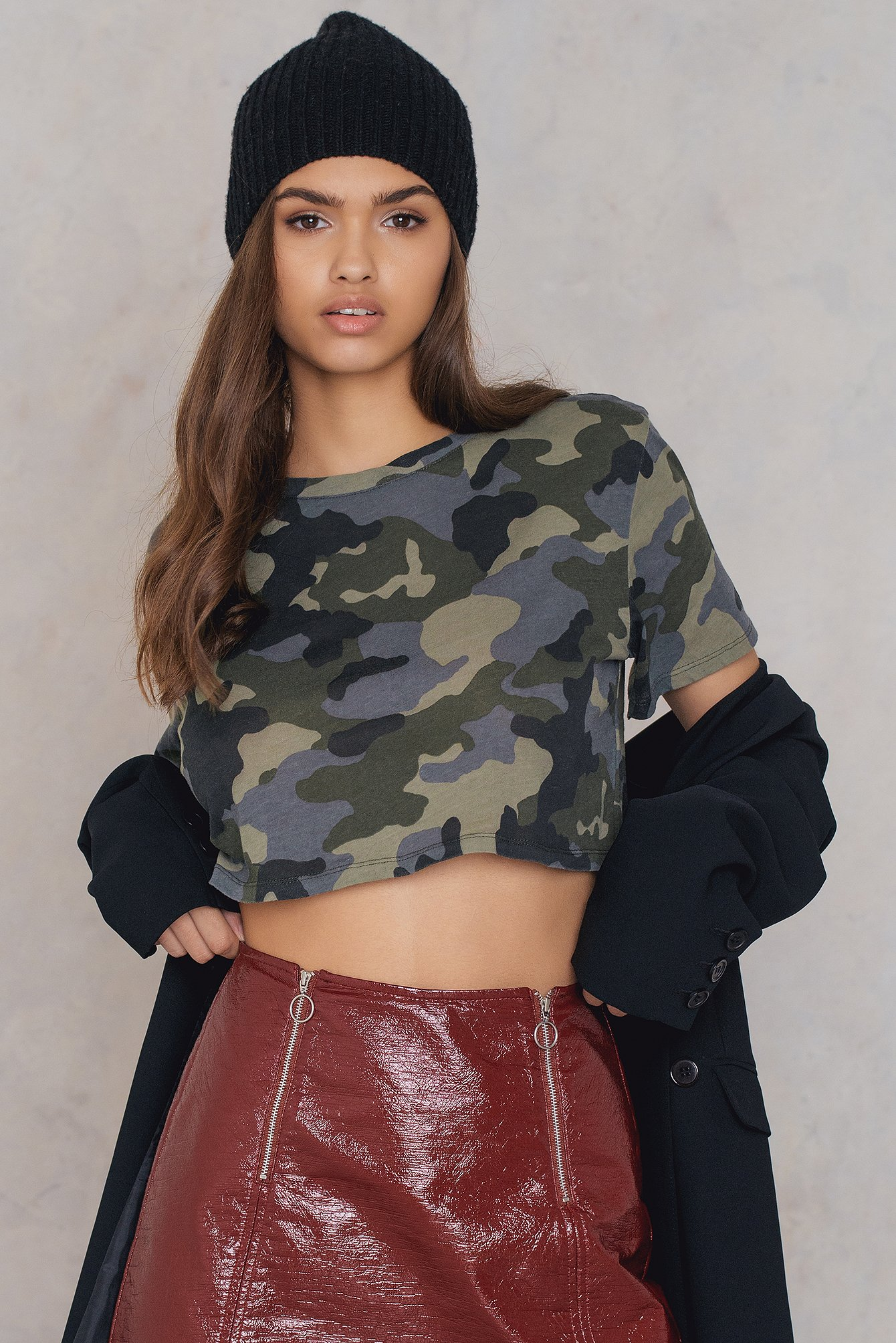 NA-KD Trend Oversized Cropped Army Multicolor