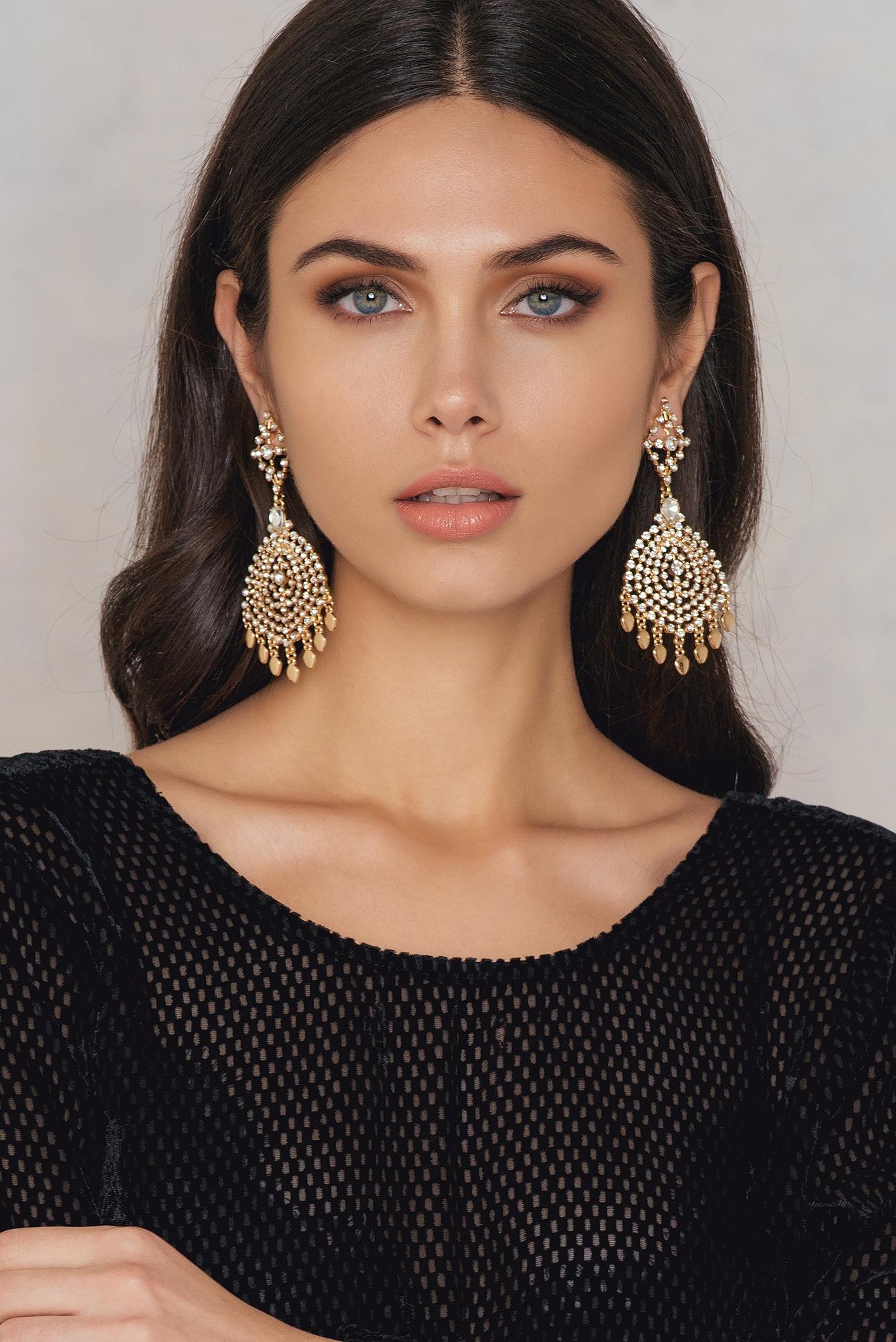NA-KD Accessories Oversized Rhinestone Stud Earrings Gold