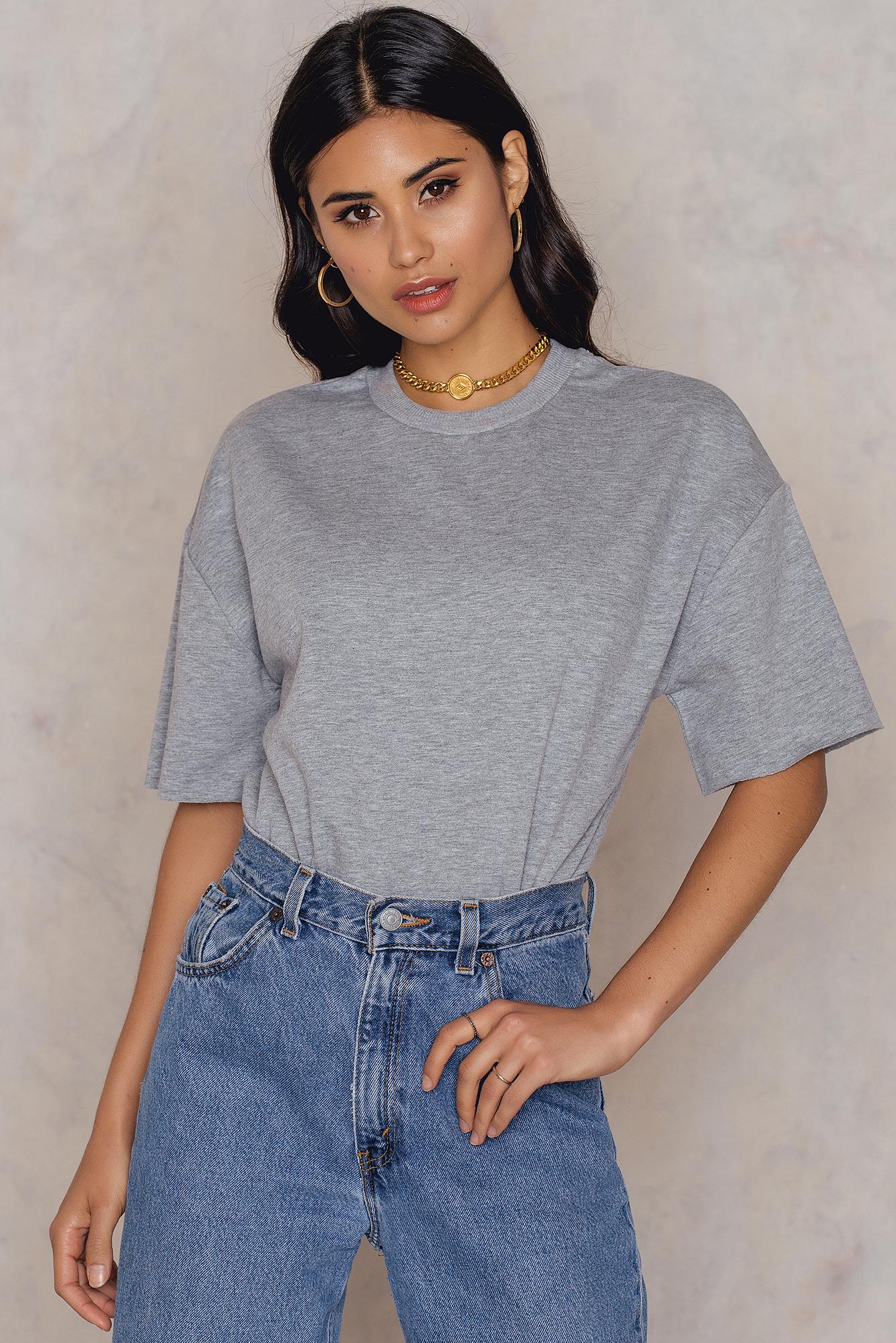 NA-KD Basic Oversized Short Sleeve Sweatshirt Grey