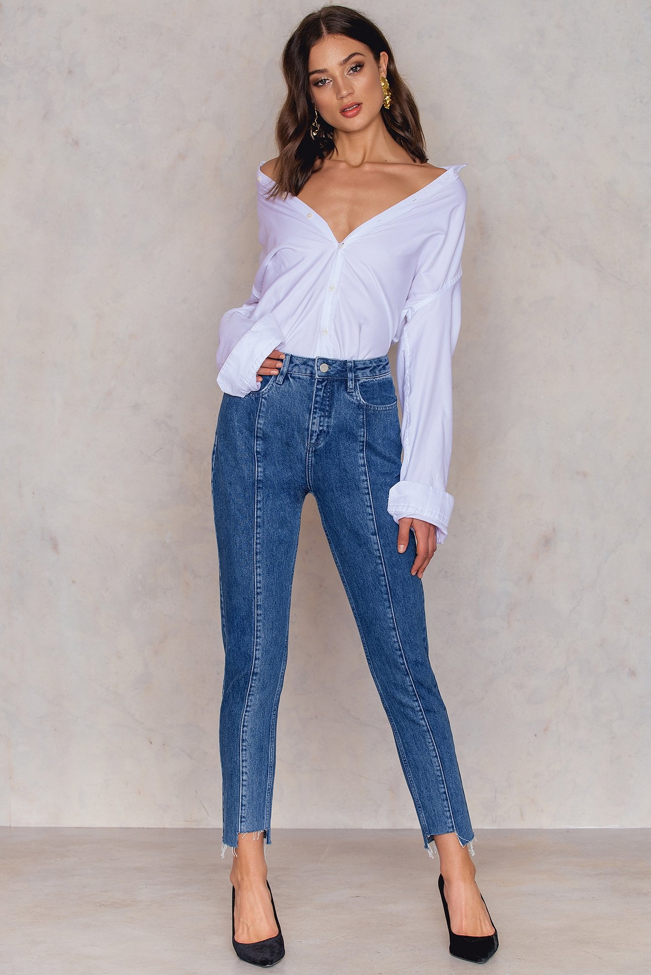 NA-KD Trend Panel Jeans Blue