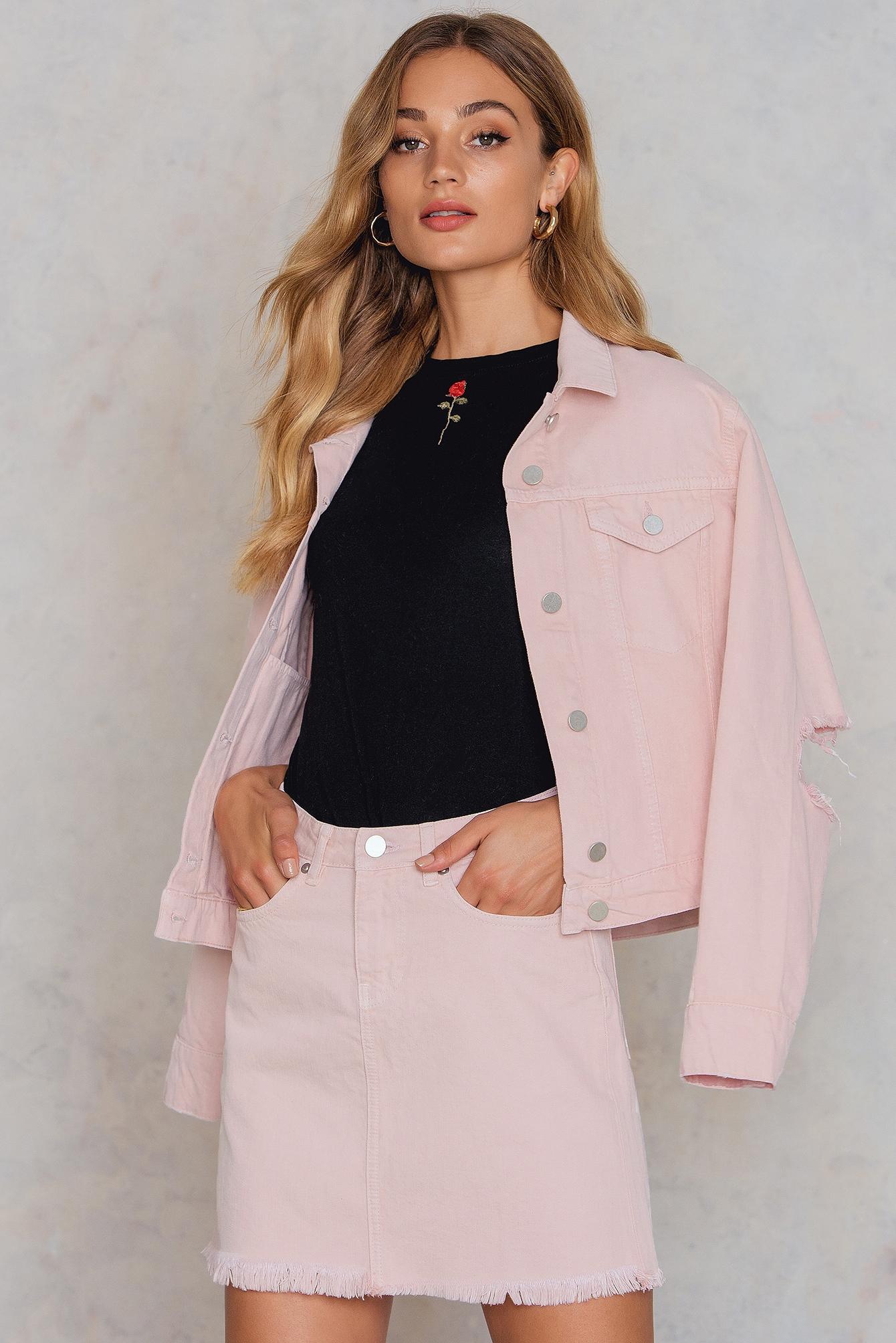 NA-KD Trend Pink Raw Hem Denim Skirt Pink