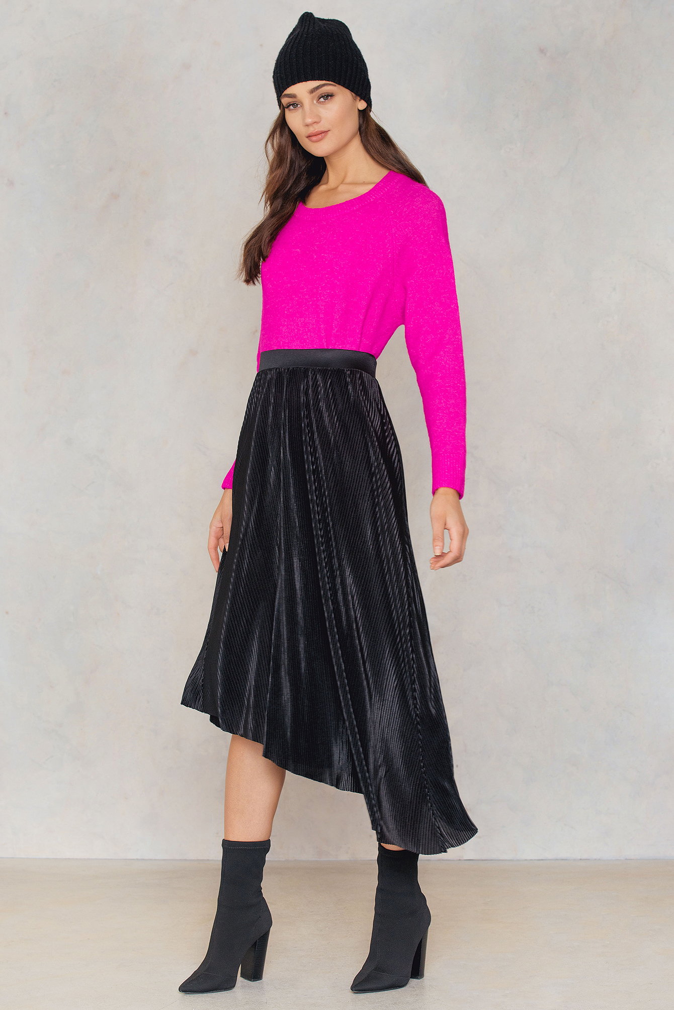 Pleated Asymmetric Midi Skirt NA-KD.COM