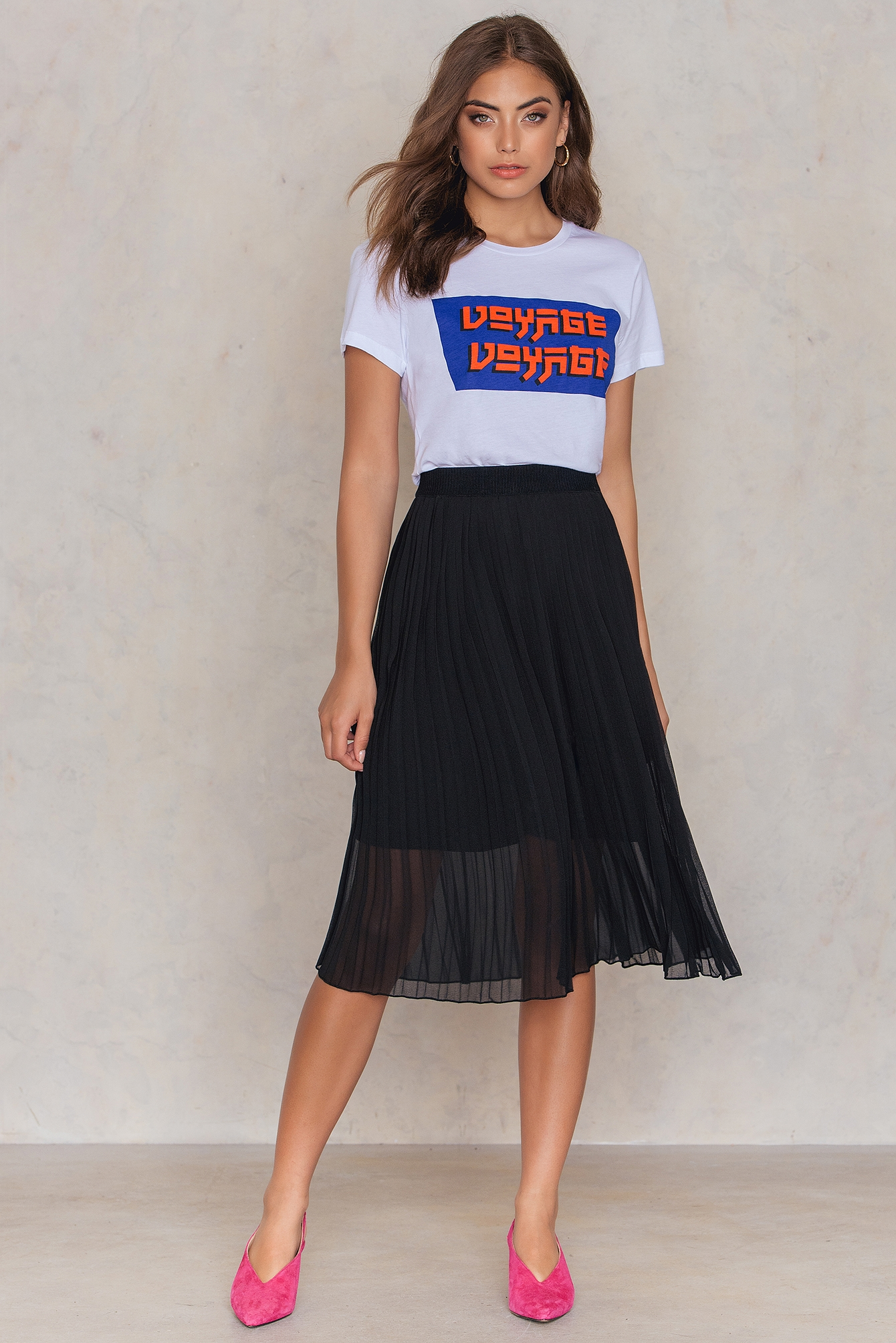NA-KD Trend Pleated Midi Skirt Black