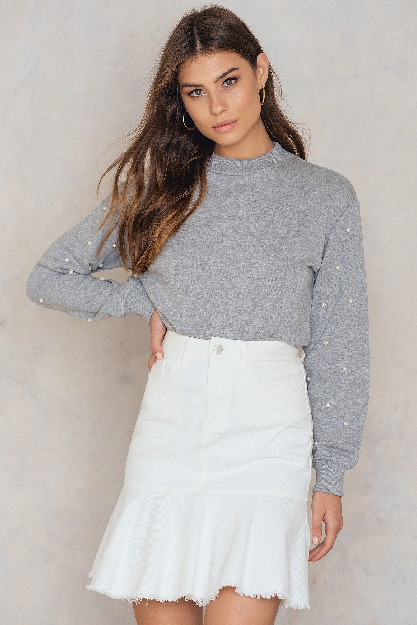 NA-KD Trend Raw Frill Hem Denim Skirt White