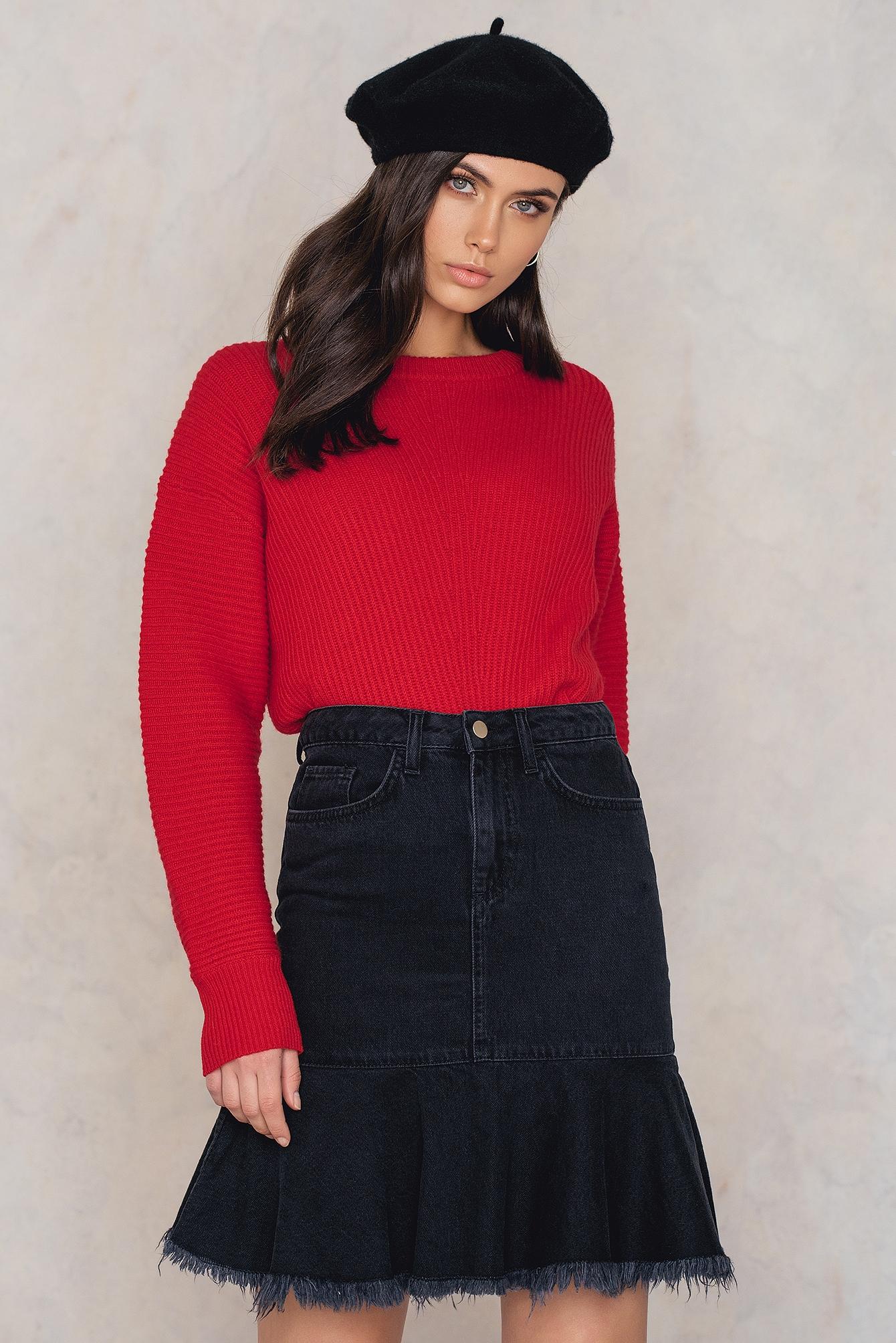 NA-KD Trend Raw Frill Hem Denim Skirt Black