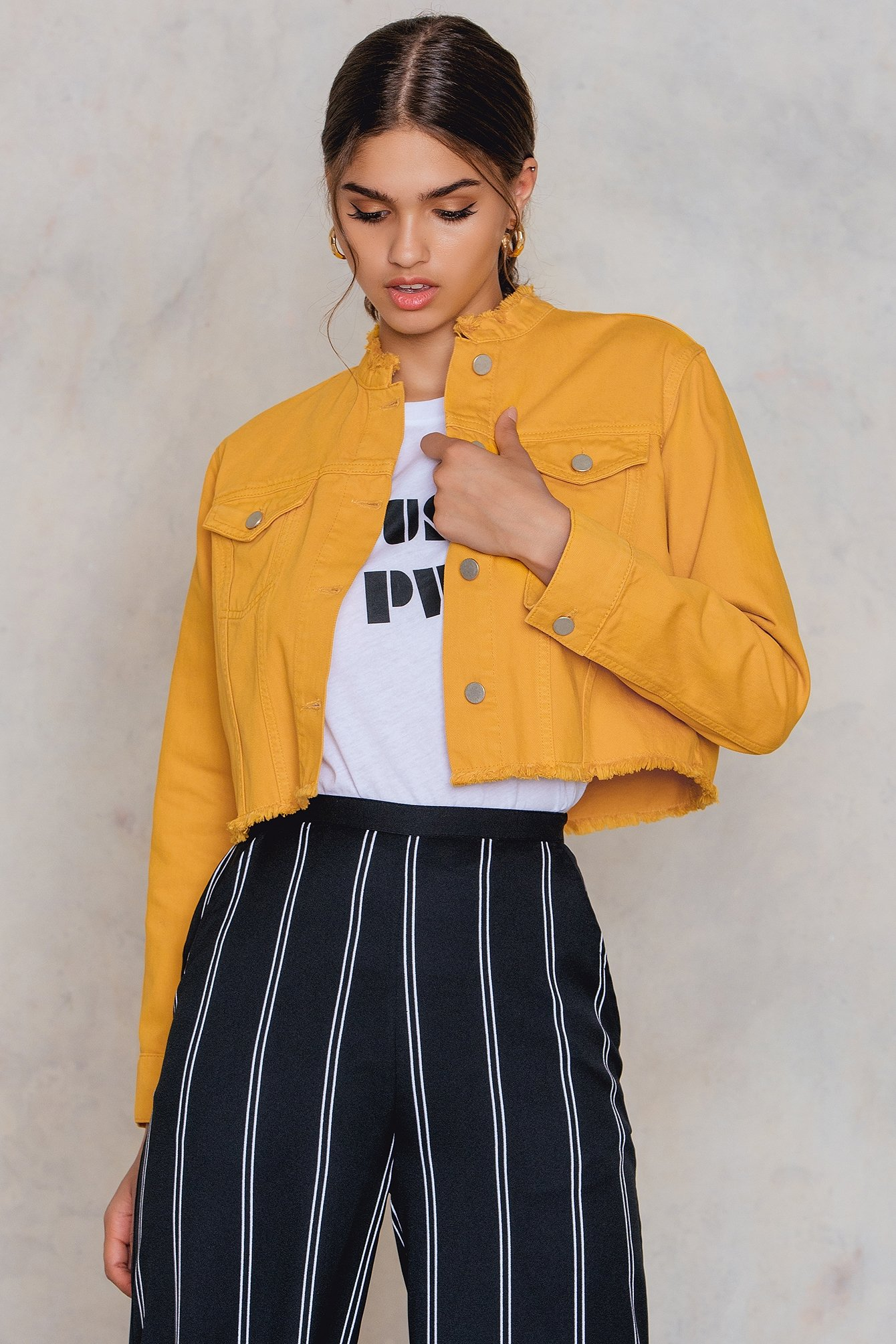 NA-KD Trend Raw Hem Short Denim Jacket Yellow