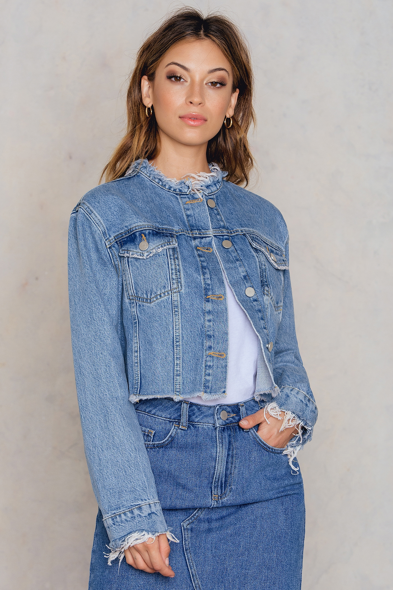 Raw Hem Short Denim Jacket