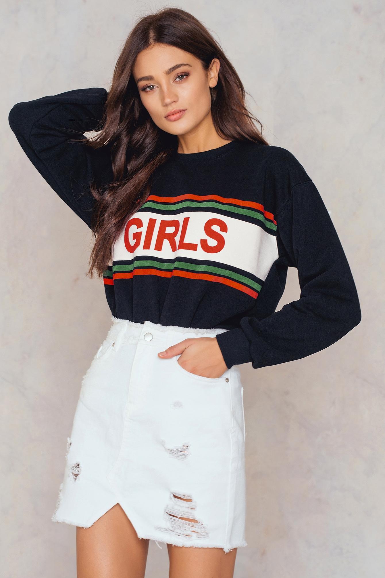 NA-KD Trend Ripped Front Slit Denim Skirt White