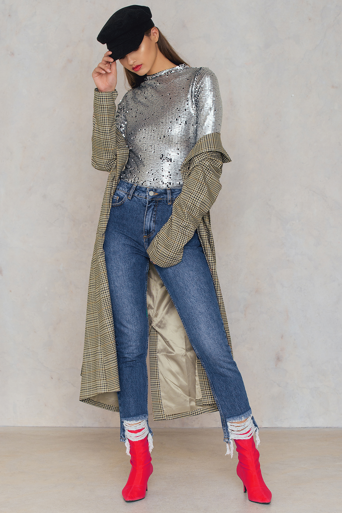 NA-KD Trend Ripped Hem Jeans Blue