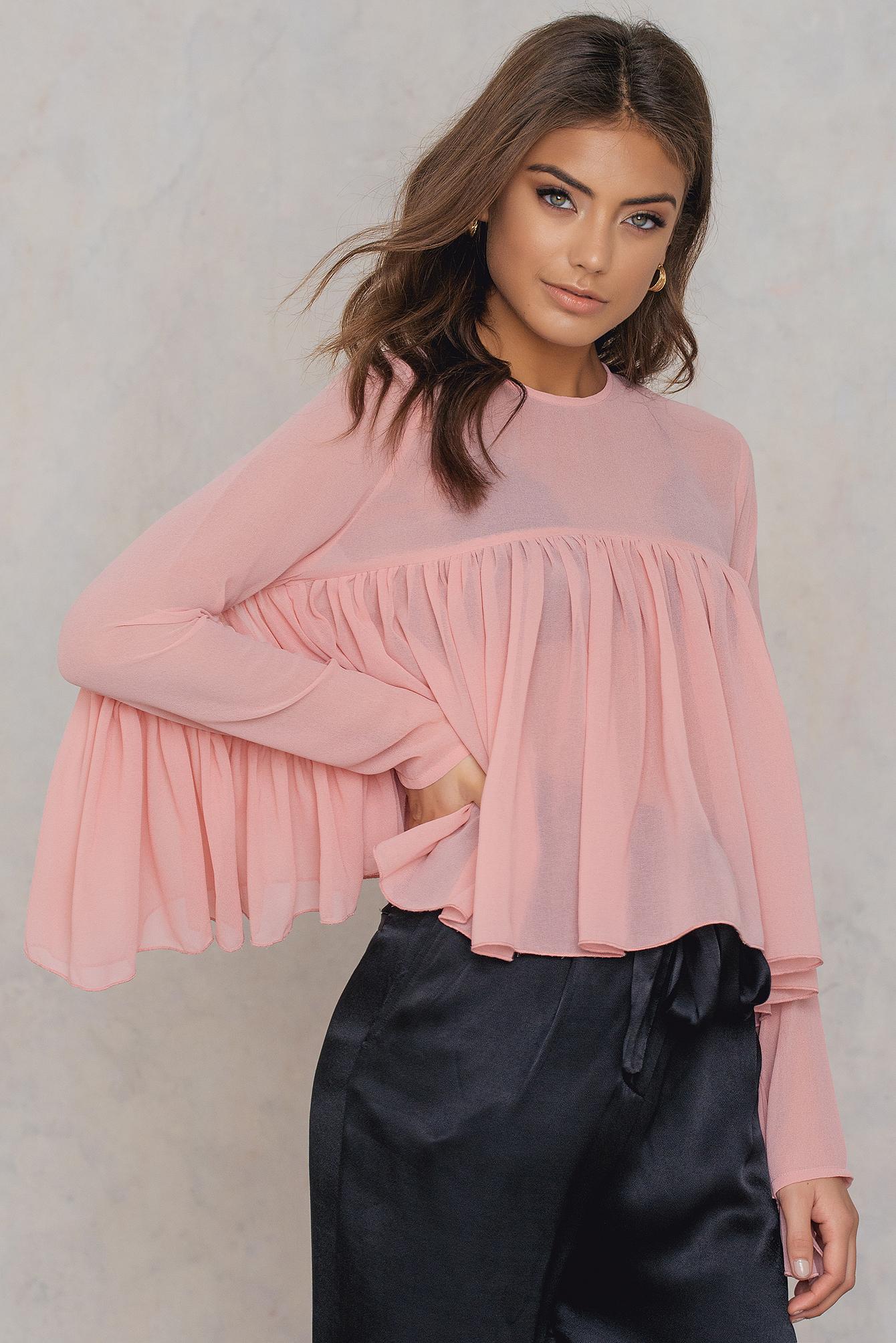 NA-KD Trend Ruffle Top Pink