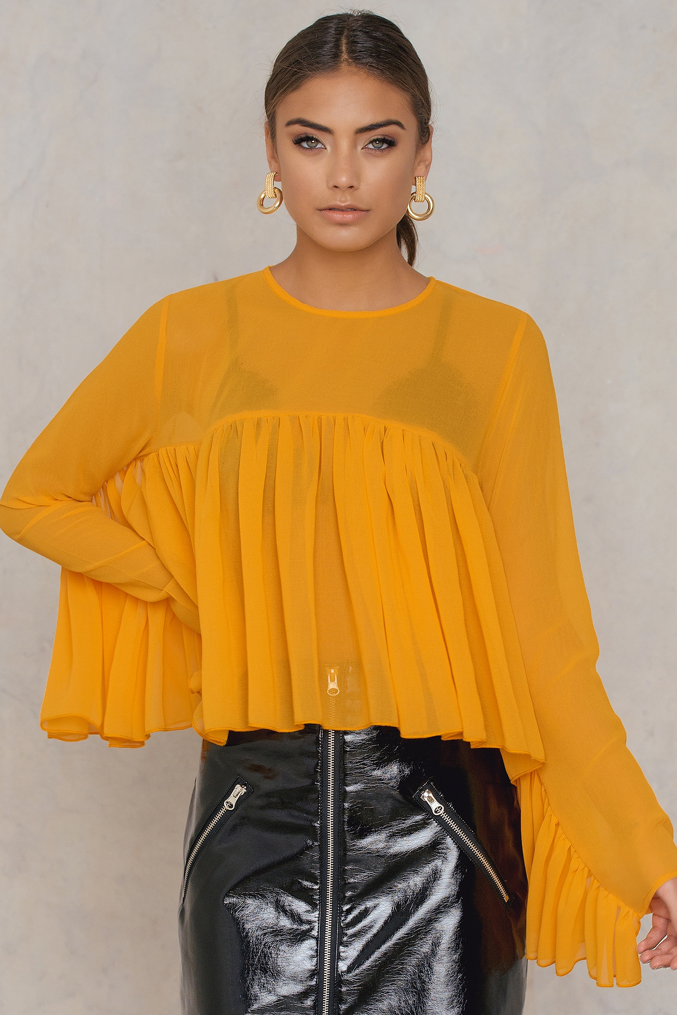 NA-KD Trend Ruffle Top Orange