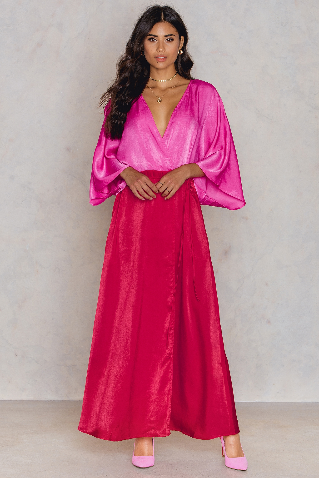 NA-KD Trend Satin Coat Dress Red, Pink