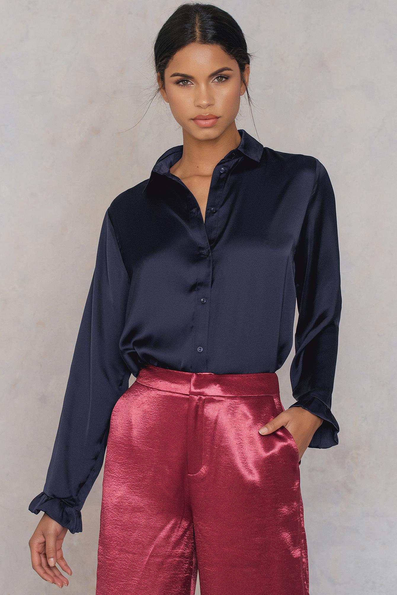 NA-KD Trend Satin Shirt Blue, Navy