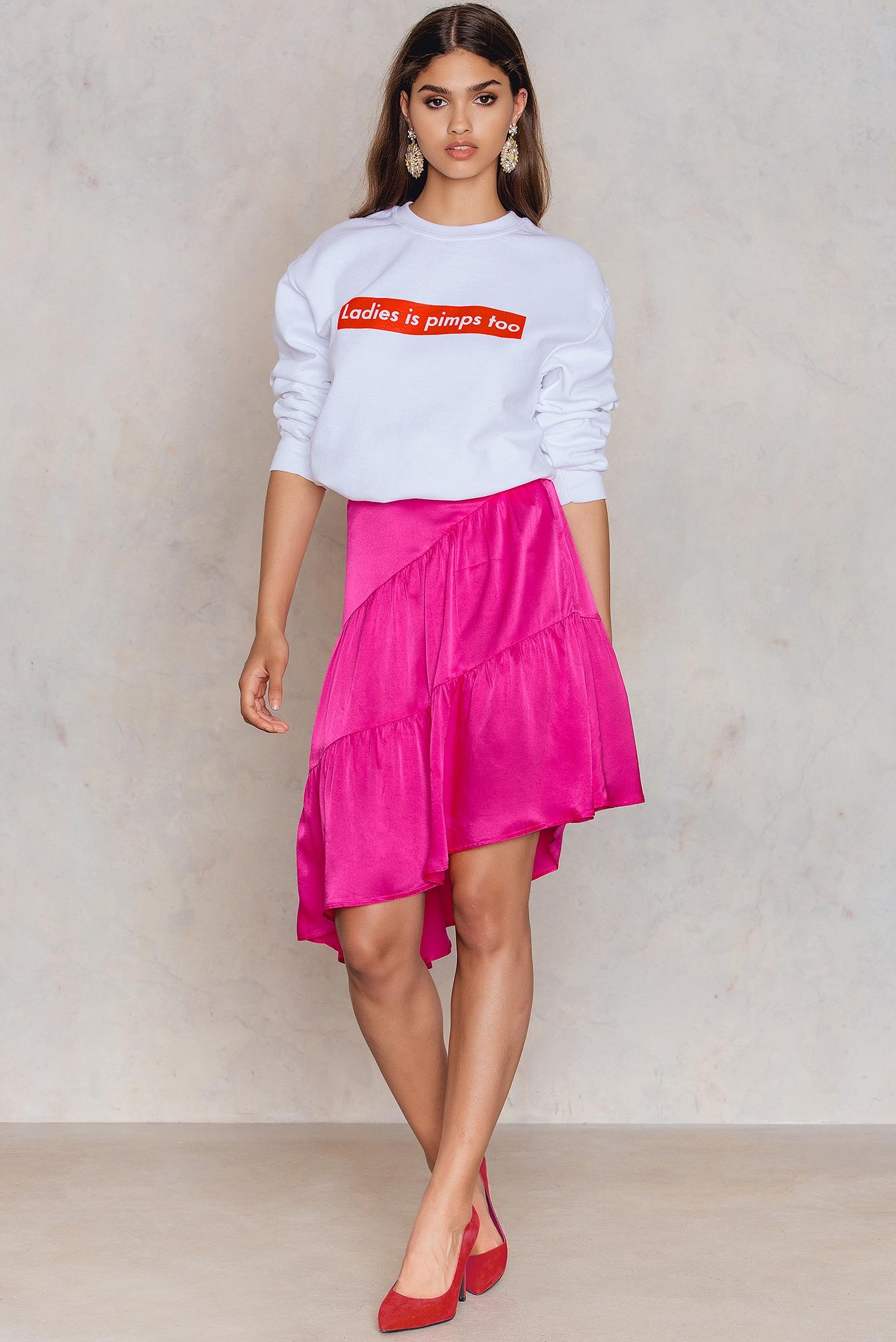 NA-KD Trend Shiny Asymmetric Skirt Pink