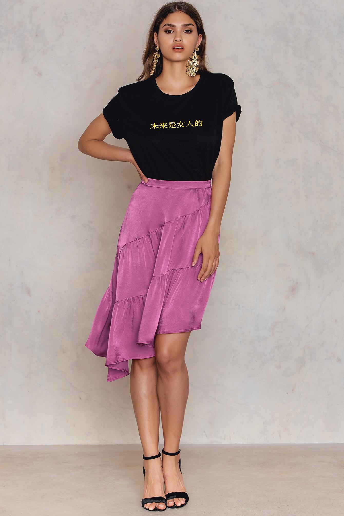NA-KD Trend Shiny Asymmetric Skirt Purple, Pink