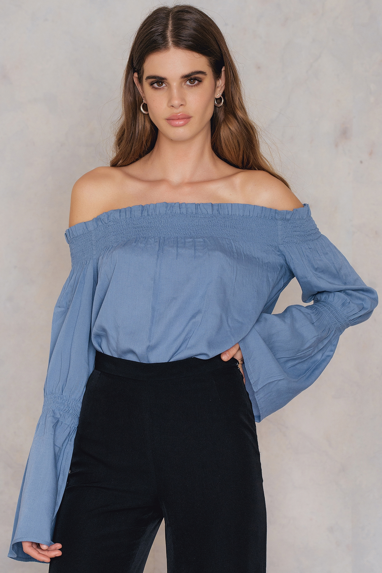 NA-KD Boho Shirred Frill Off Shoulder Top Blue