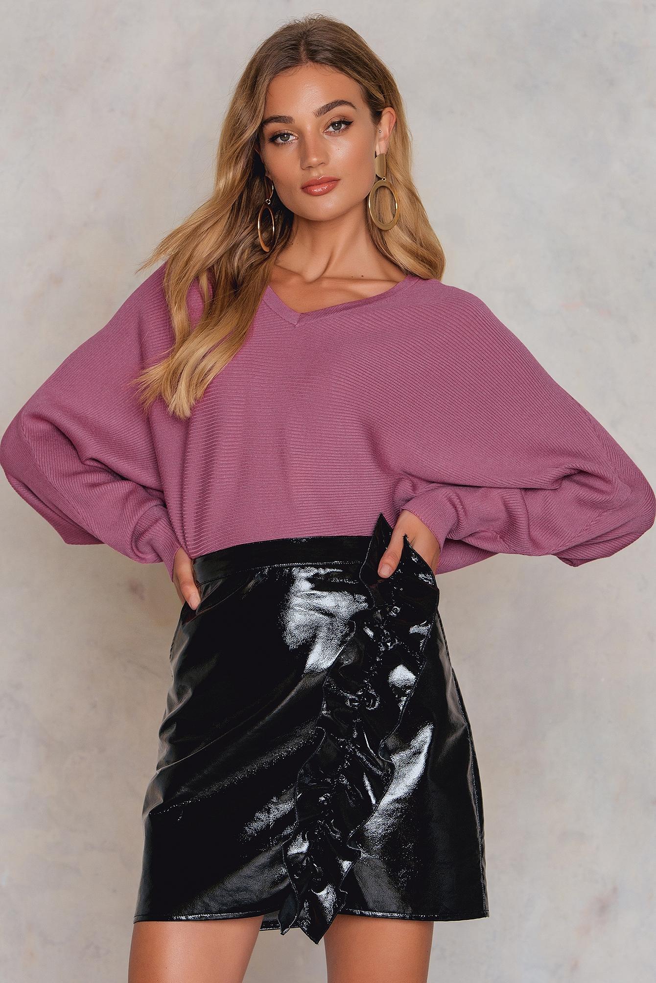 NA-KD Trend Short Batwing Sweater Purple, Pink