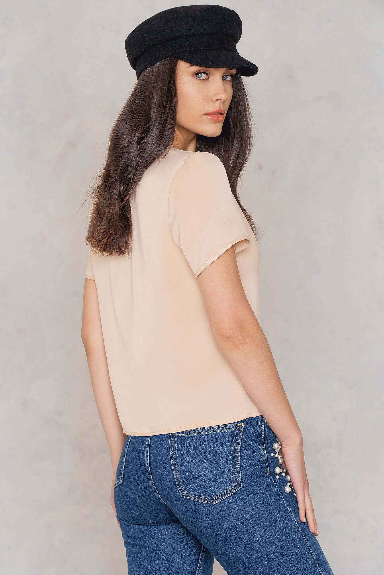 NA-KD Trend Short Sleeve Satin Shirt - Pink, Nude 1018-000742-1757