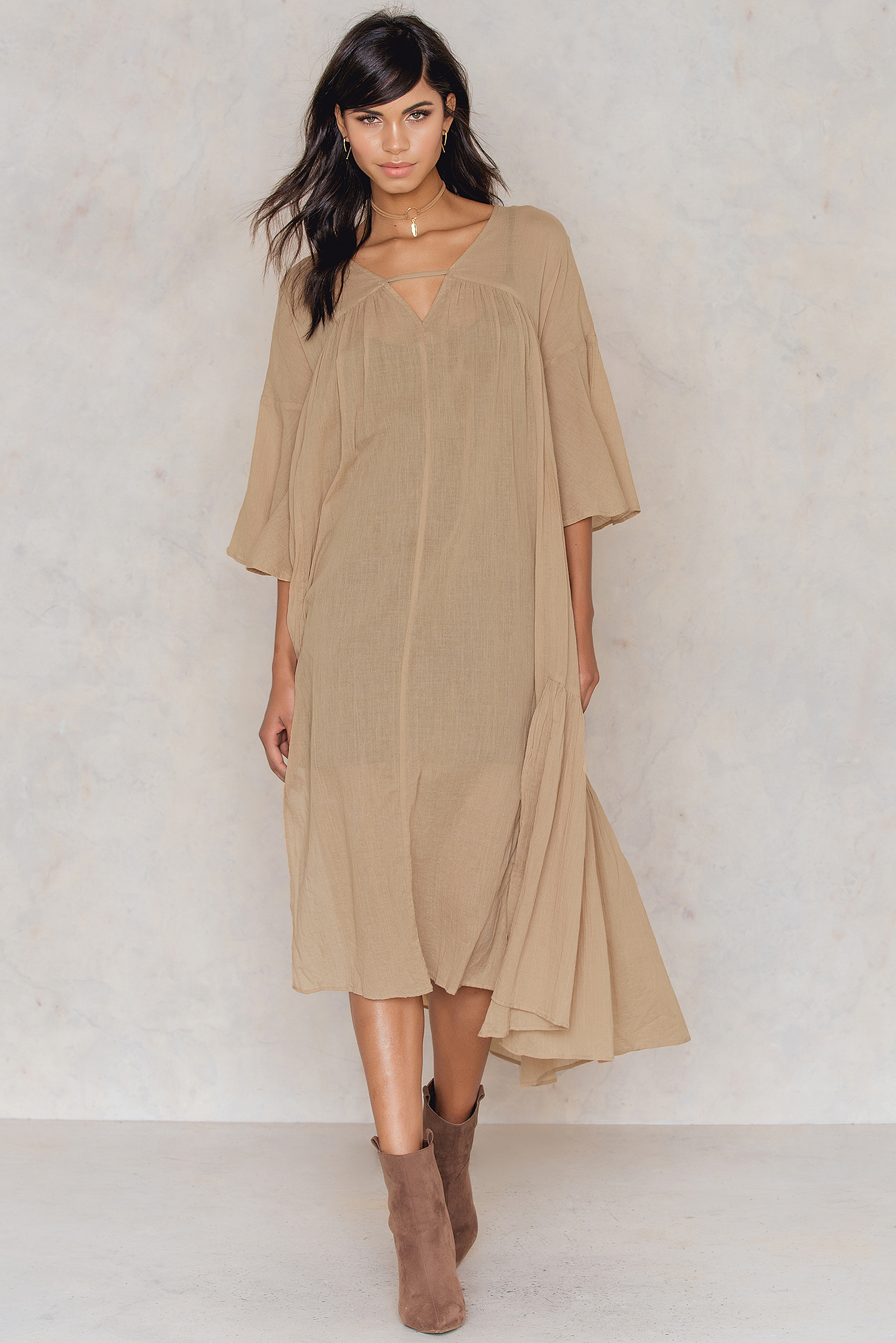NA-KD Boho Side Slit Caftan Brown, Beige