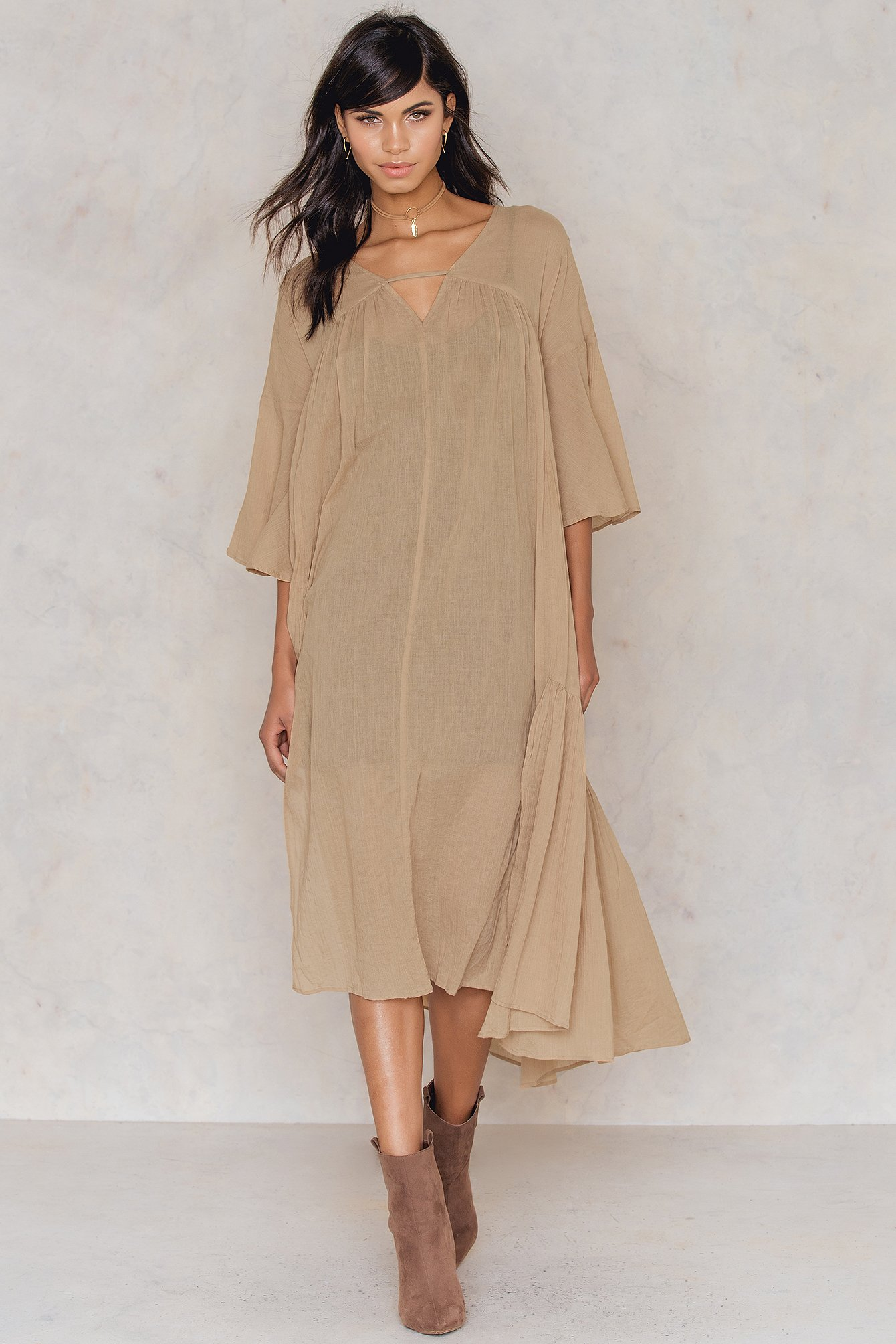 NA-KD Boho Side Slit Caftan Brown, Beige by NA-KD Boho