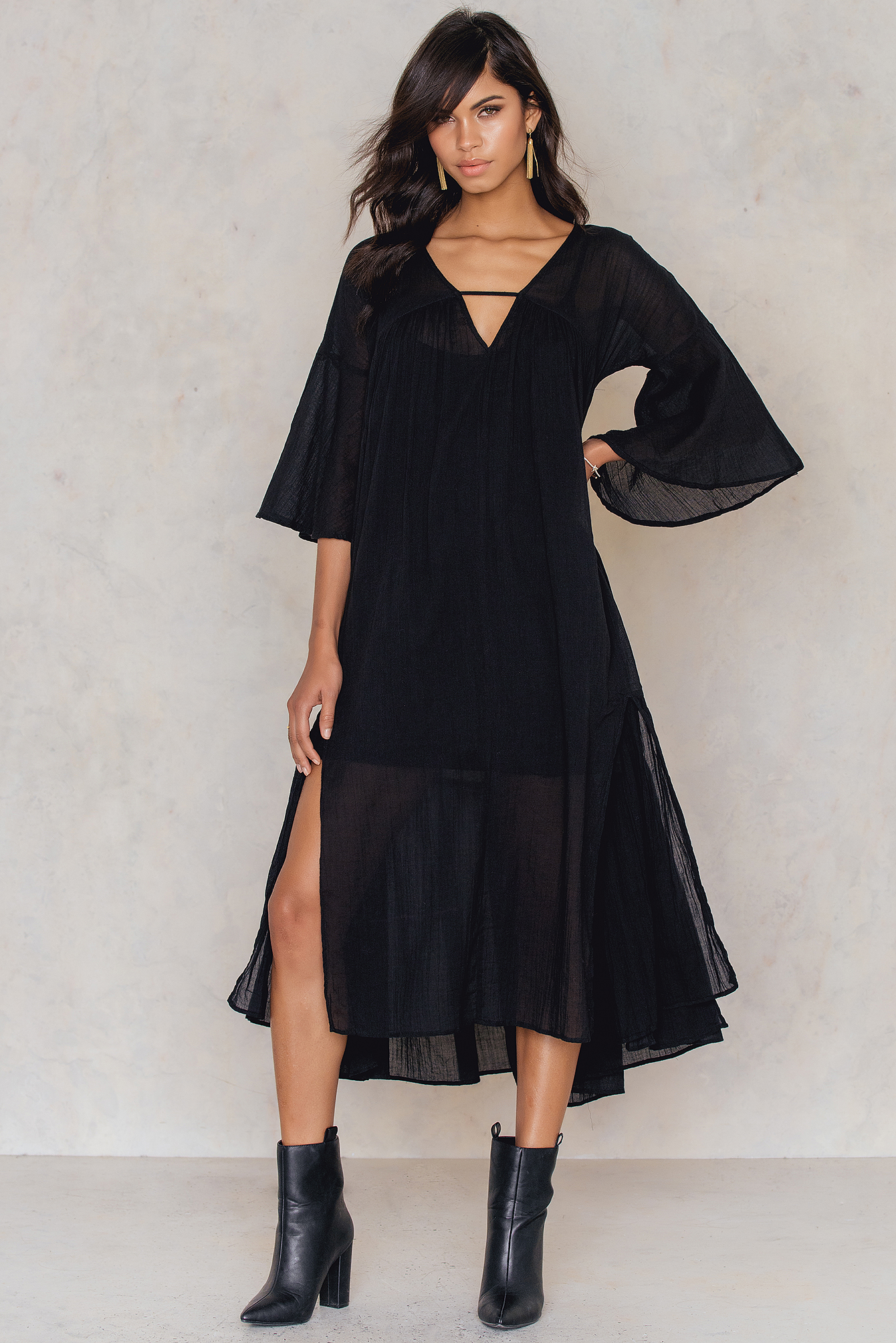 NA-KD Boho Side Slit Caftan Black