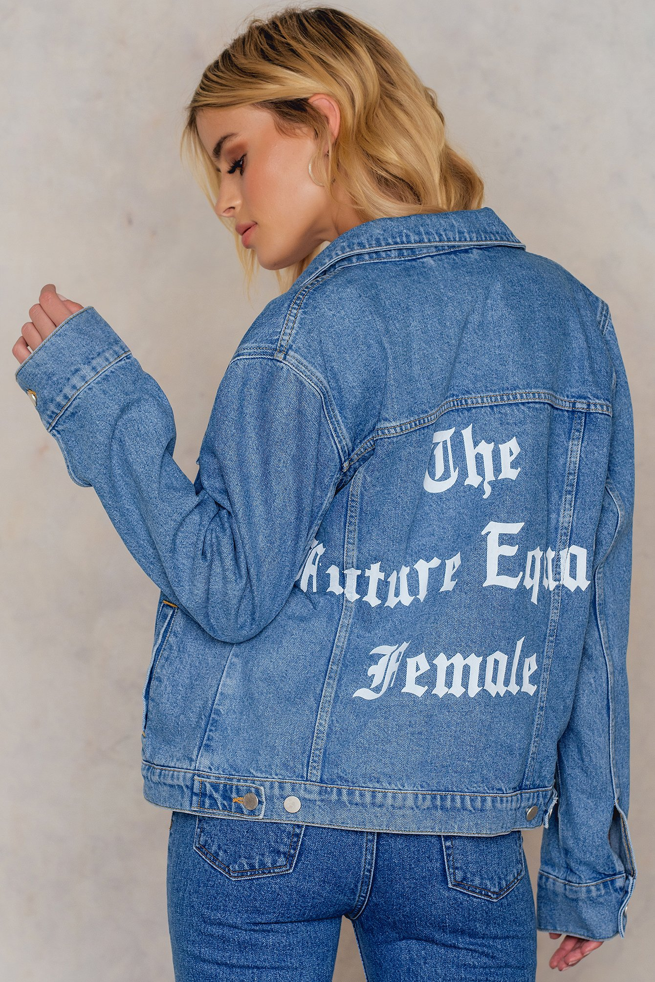 NA-KD The Future Equals Female Denim Jacket Blue