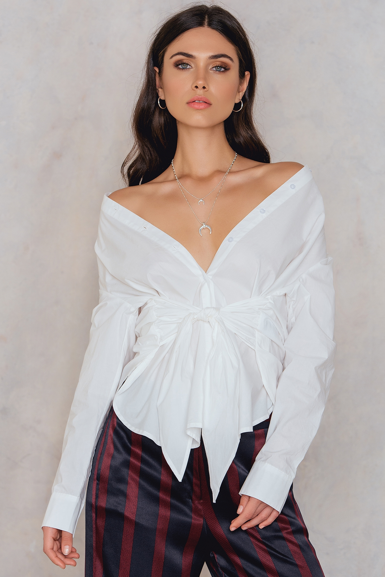 NA-KD Trend Tie Waist Long Shirt White