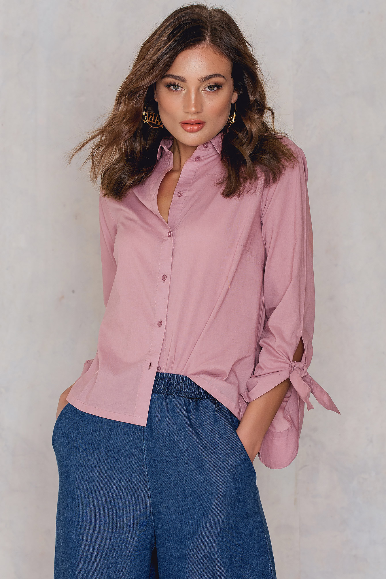 NA-KD Trend Tied Sleeve Shirt Pink