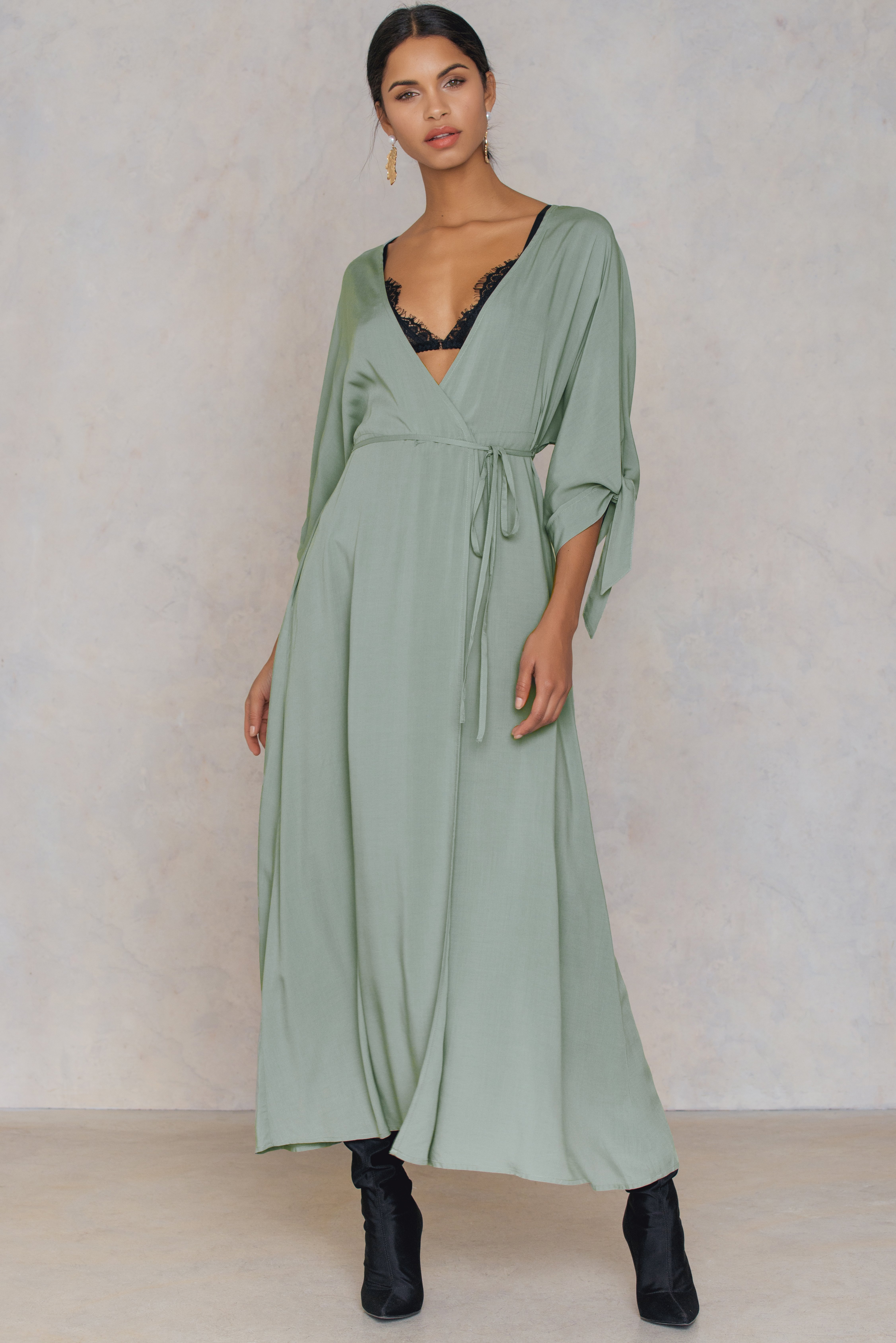 NA-KD Trend Tied Sleeve Coat Dress Green