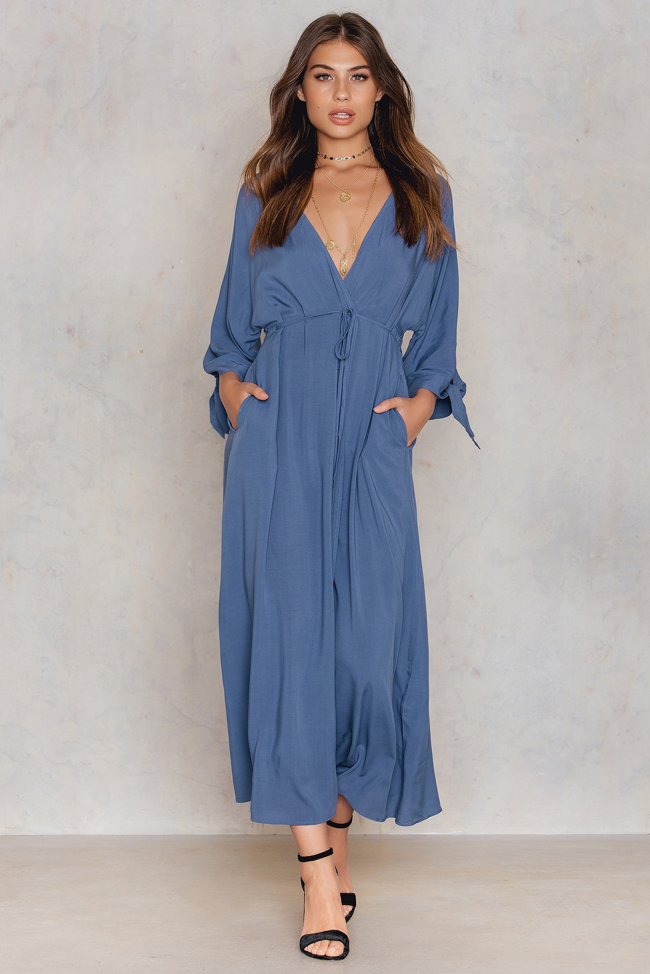 NA-KD Trend Tied Sleeve Coat Dress Blue