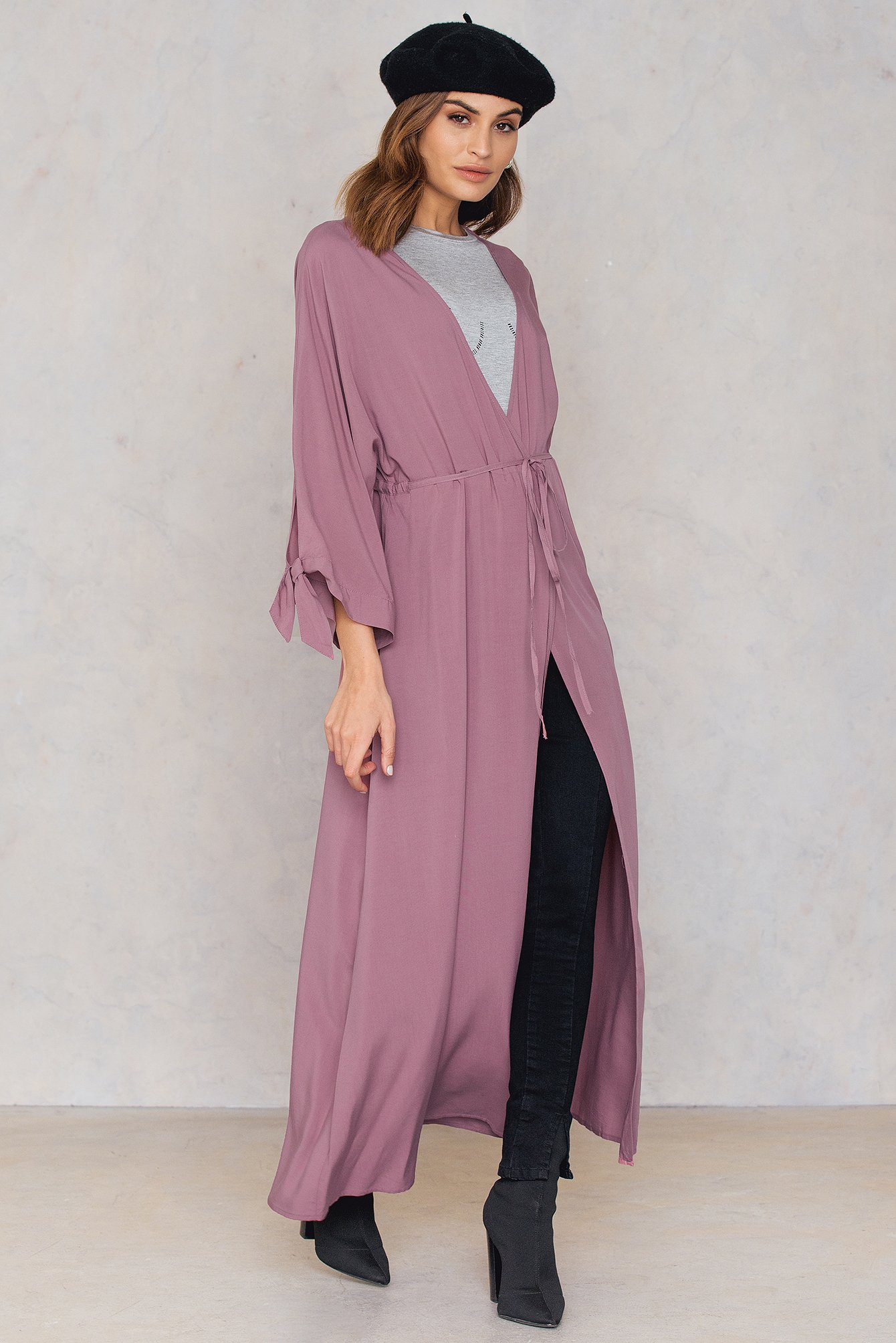 NA-KD Trend Tied Sleeve Coat Dress Pink