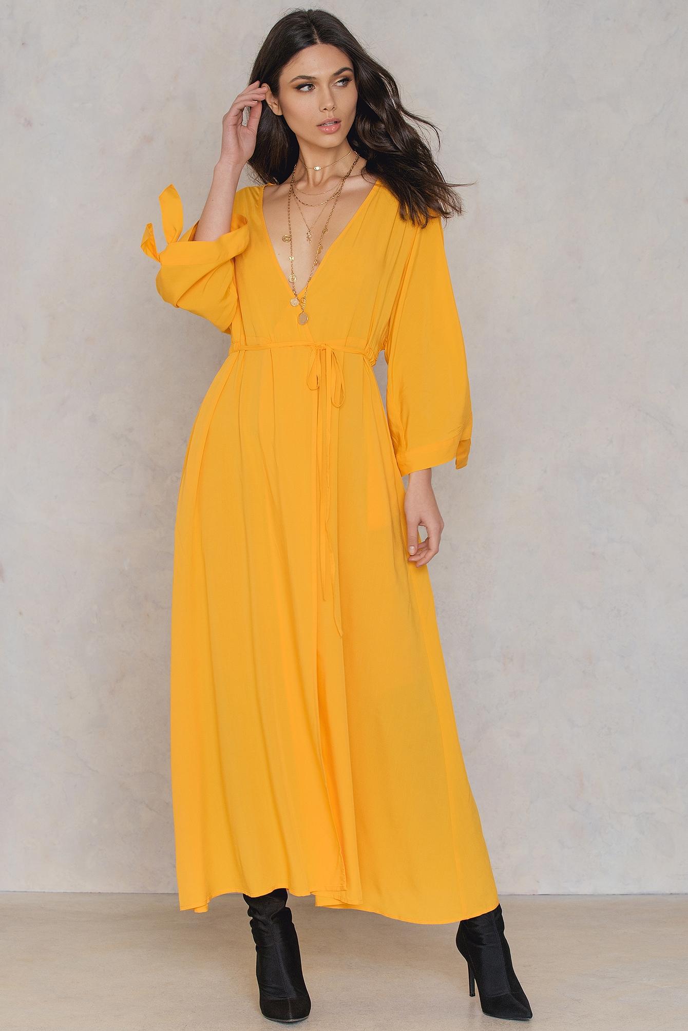 NA-KD Trend Tied Sleeve Coat Dress Yellow